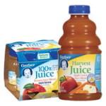 $0.75/2 –  32oz. bottles or 4oz. 4-pks of GERBER JUICE