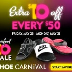 Huge savings at Shoe Carnival! $10 off every $50 Memorial Day Weekend.