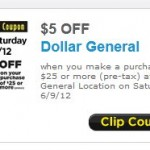 $5.00 off $25 or more at Dollar General on Saturday, 6/9/12 only!