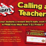 FREE T.G.I. Fridays Kids Meal certificates to reward students (Teachers Only)