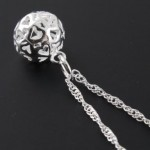 $2.69 FREE Shipping!! Silver Hollow Round Ball Pendant Necklace