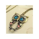 Vintage style colorful Owl charm necklace
