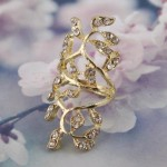Elegant Carve Design Full Rhinestone Gold Flower Ring $1.49 Shipped