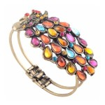 Multi Vintage Colorful Crystal Peacock Bracelet $1.59 Shipped!