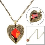 $1.05 FREE Shipping!!! Red Rhinestone Wing With Heart Pendant Necklace