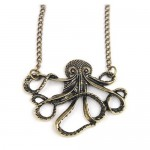 Vintage Bronze Style Octopus Pendant Long Chain Necklace $1.38 Shipped!