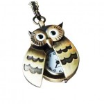 $2.92 Shipped!! Flappy Wings Owl Locket Watch Necklace