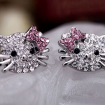 Hello Kitty Crystal Stud Earrings $0.99 Free Shipping